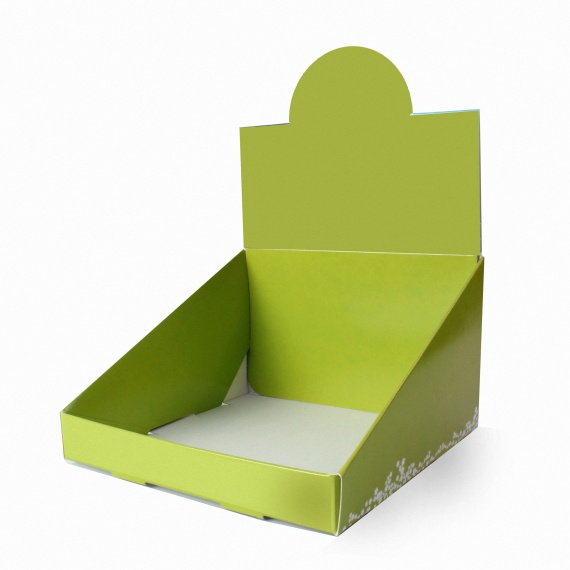 Plv de comptoir en carton avec fronton