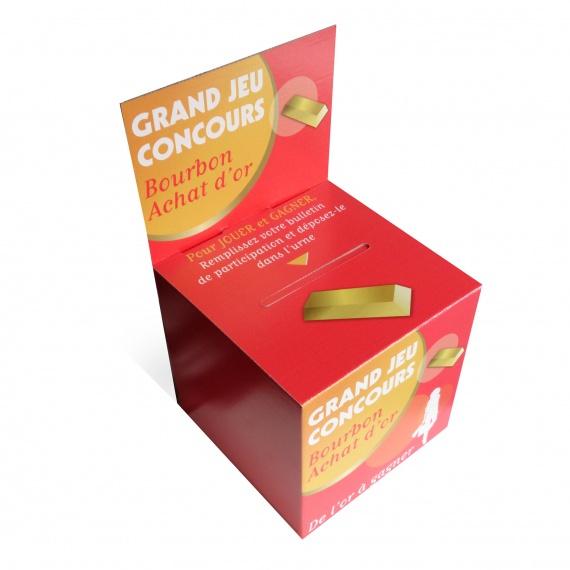 Urne en carton 15 x 15 x 15 cm sur carte
