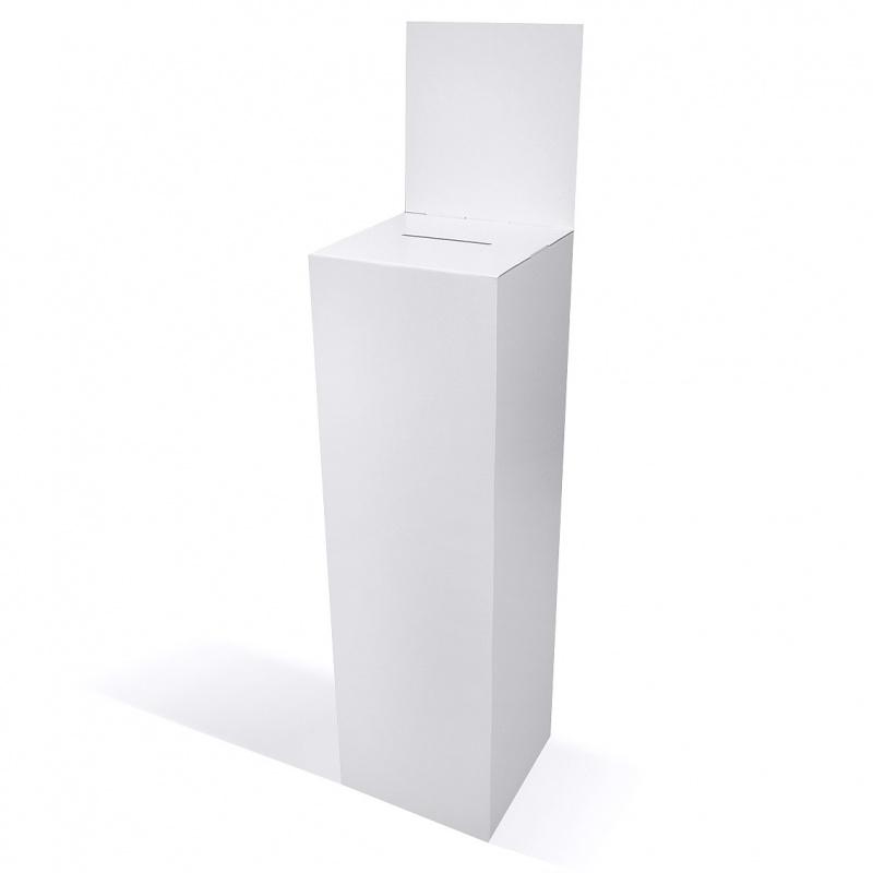 urne en carton blanche sur pied hauteur 90 cm. Black Bedroom Furniture Sets. Home Design Ideas