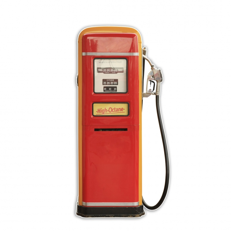 pompe essence vintage en carton