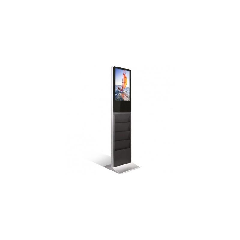 """BIKOM Totem vidéo 22"""" vertical porte brochure"""