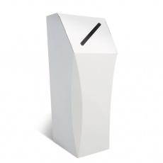 Poubelle en carton blanc, 50L, personnalisable, ouverture étroite