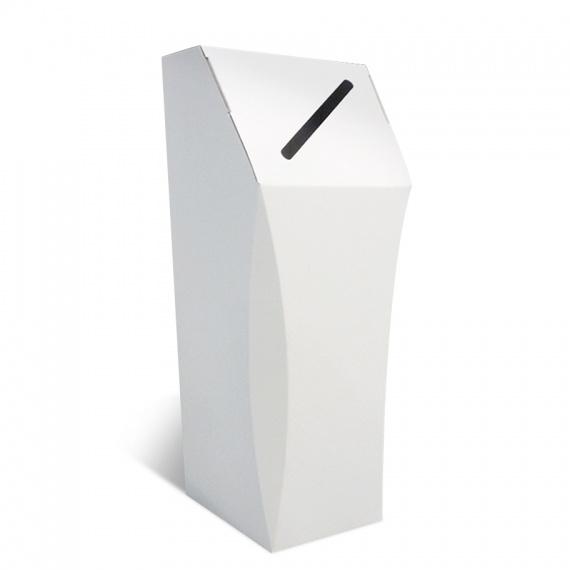 presentoir-masque-Poubelle en carton blanc, 50L, personnalisable, ouverture étroite