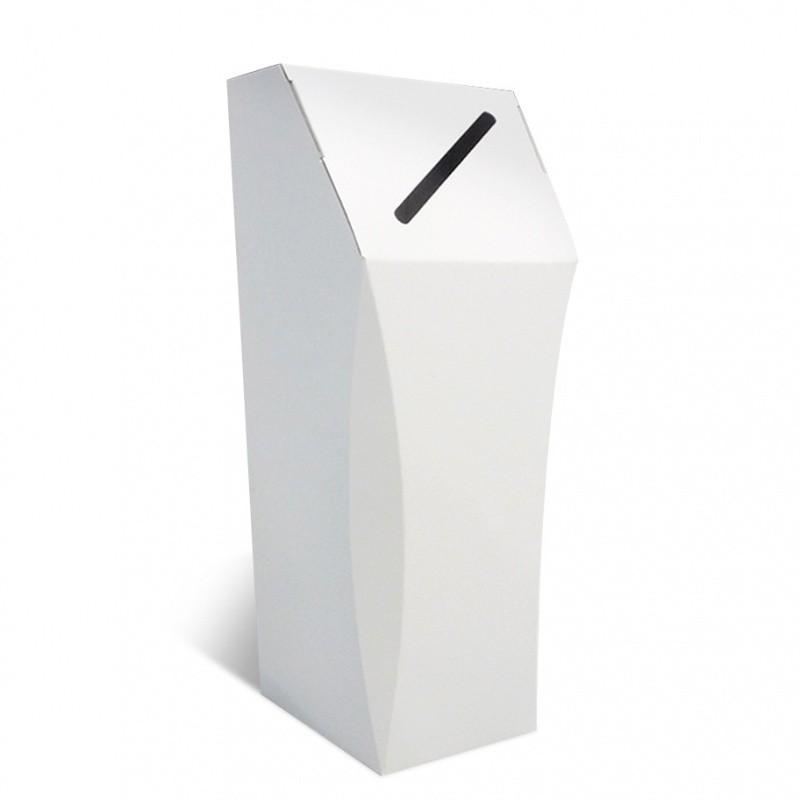 Poubelle en carton blanc, 50L, personnalisable, ouverture étroite BIKOM Poubelle et corbeille en carton