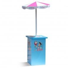 Comptoir avec parasol en carton