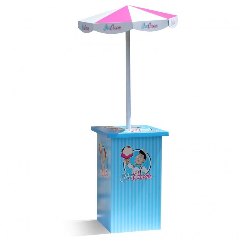 fabricant_plv_Comptoir avec parasol en carton