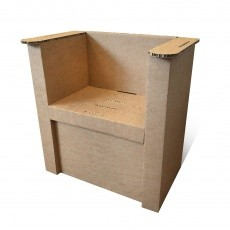 presentoir-masque-Fauteuil en carton naturel personnalisable