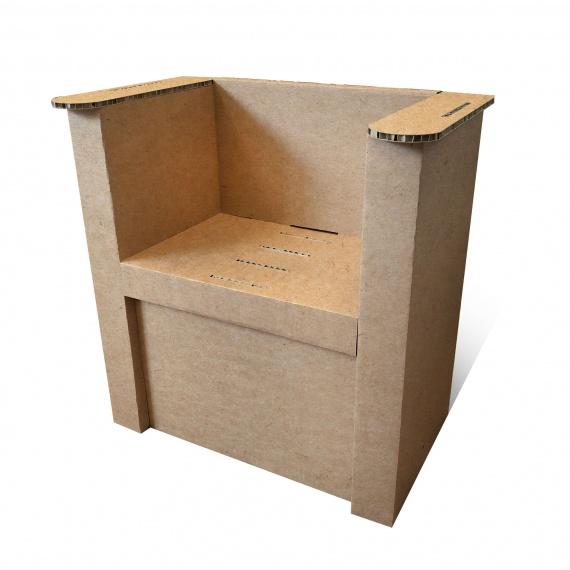Fauteuil en carton naturel personnalisable