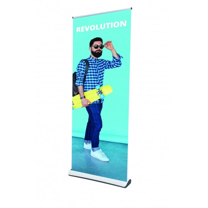 Roll-Up Revolution en PVC blanc BIKOM Accueil
