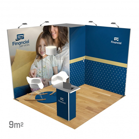 Stand modulaire 9m2 Panoramic H-Line BIKOM Stand Modulaire en textile tendu