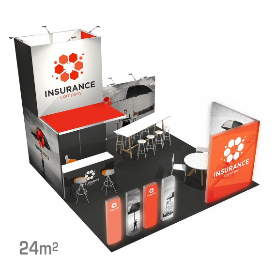 Stand modulaire 24m2 Panoramic H-Line BIKOM Stand Modulaire en textile tendu