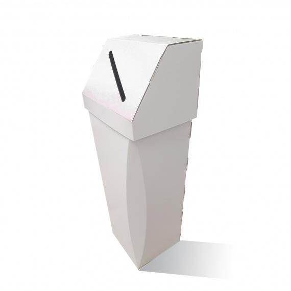 Poubelle en carton 65L Personnalisable couvercle amovible BIKOM Mobilier de stand en carton