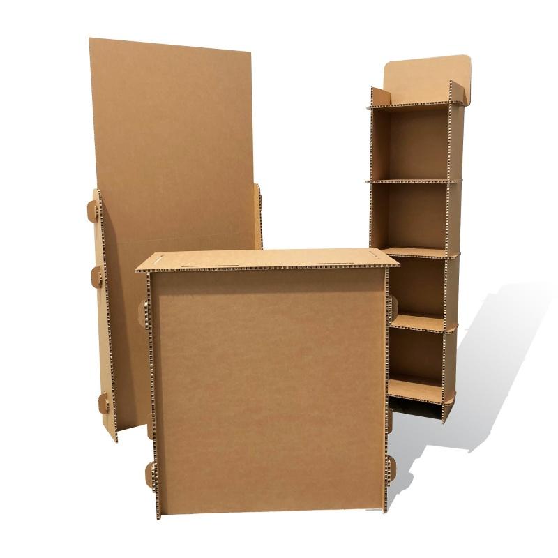 mobilier-en-carton-Comptoir en carton alvéolaire personnalisable