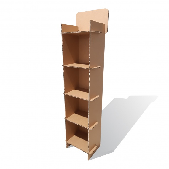 Meuble étagères en carton alvéolaire personnalisable BIKOM Mobilier display en carton