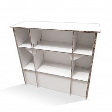 Comptoir en carton alvéolaire avec compartiments BIKOM Mobilier display en carton