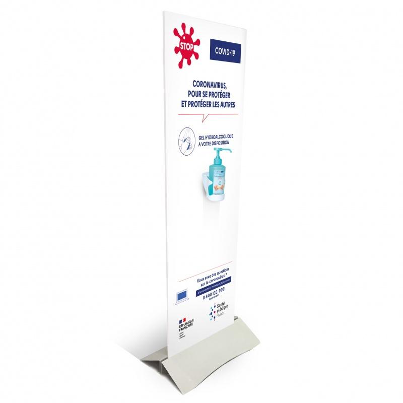 Support pour Gel Hydroalcoolique BIKOM Covid 19 signalétique