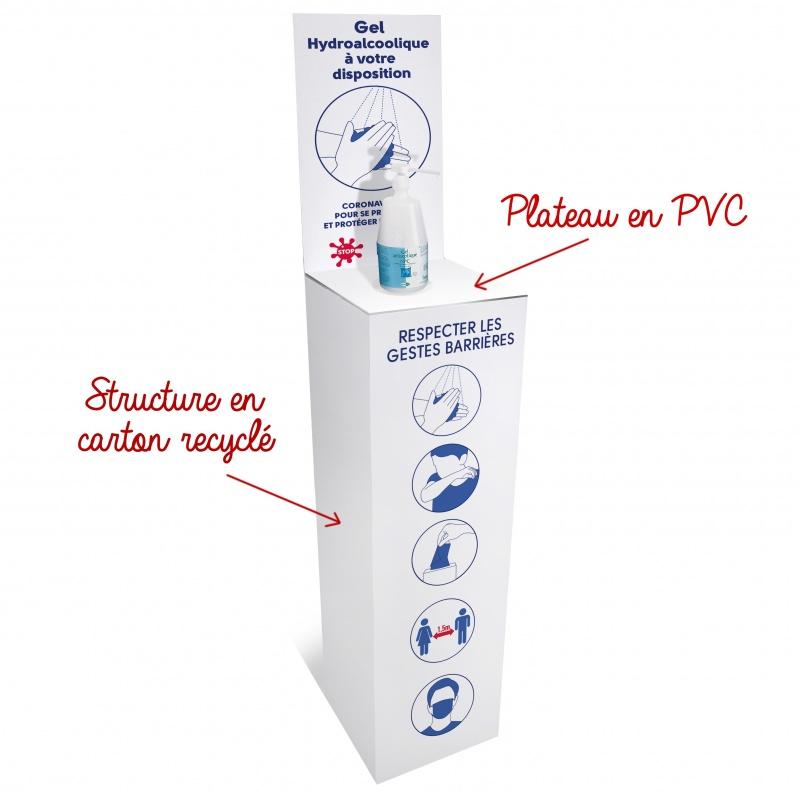 gestes_barrieres_Support en carton pour gel hydroalcoolique