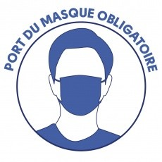 Port du masque obligatoire - Stickers autocollants - x10 BIKOM Covid 19 signalétique