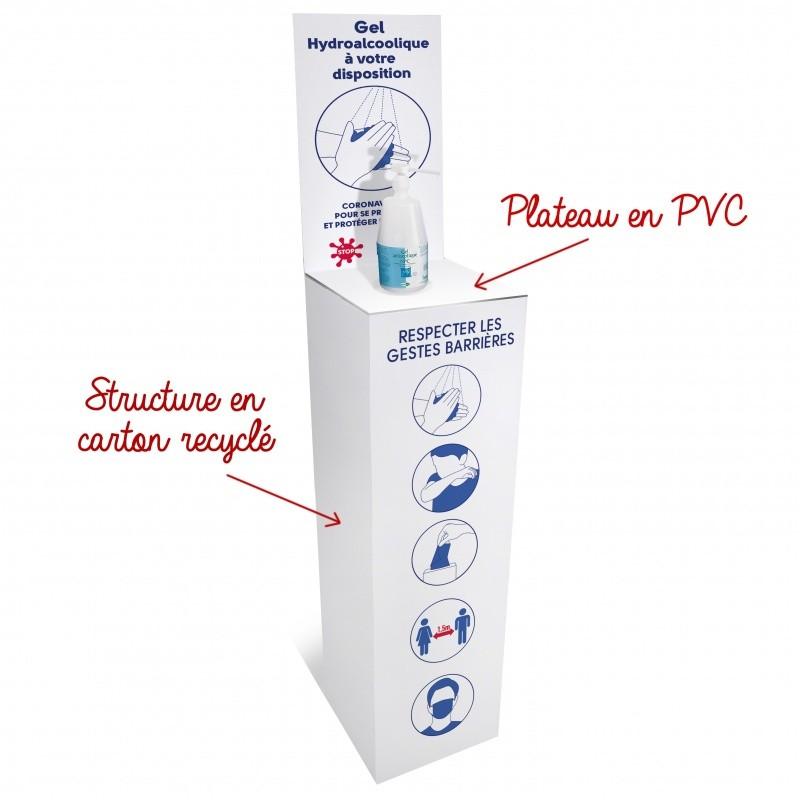 gestes_barrieres_Support pour gel hydroalcoolique en carton renforcé