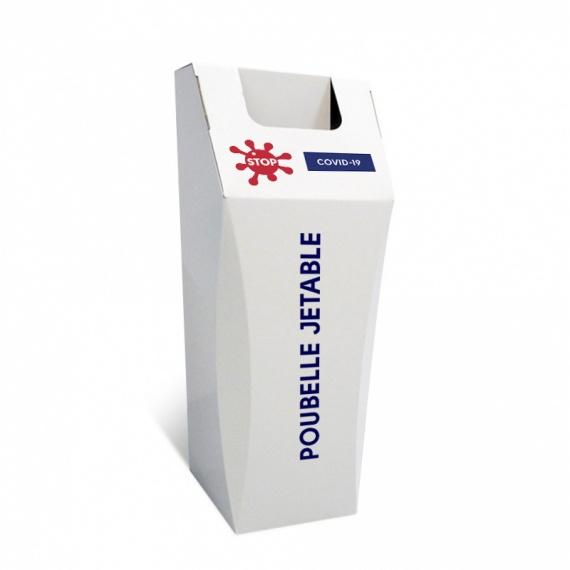 Poubelle jetable 50L Gestes barrières BIKOM Signalétique gestes barrières