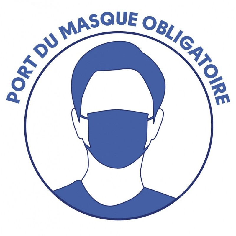 gestes_barrieres_Port du masque obligatoire - Adhésifs autocollants x10