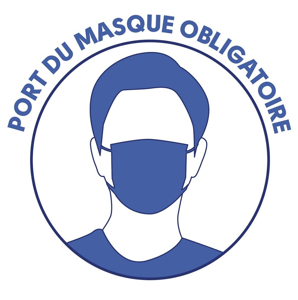 Stickers autocollant port du masque obligatoire kit de 10 pièces BIKOM