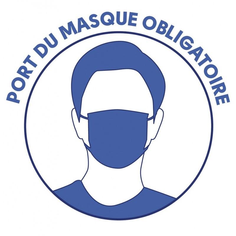 """Autocollant """"Port du masque obligatoire"""" - Gestes barrières - Lot 10 stickers BIKOM Accueil"""