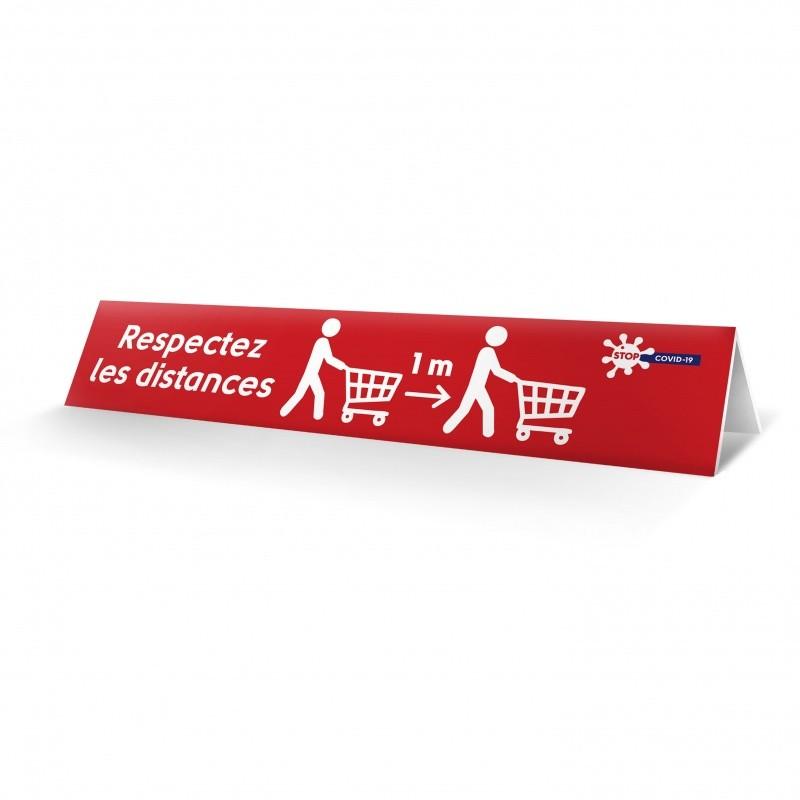 """Séparateur de caisse """"Gestes barrières"""" en PVC (x10) BIKOM Signalétique gestes barrières"""