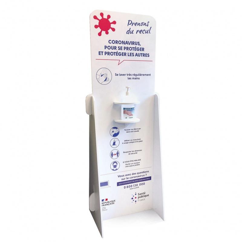 Support Gel Hydroalcoolique en PVC BIKOM Signalétique gestes barrières
