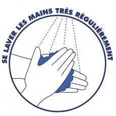 Autocollant se laver les mains - x10 BIKOM Signalétique gestes barrières