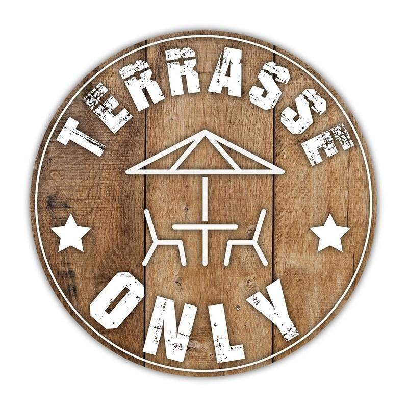 """Stickers """"Terrasse only"""" pour bar et restaurant BIKOM Signalétique gestes barrières"""