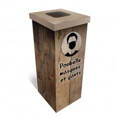 Poubelle à masque en carton imitation bois BIKOM Poubelle et corbeille en carton