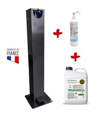 Distributeur de gel hydroalcoolique extérieur à pied + recharge gel