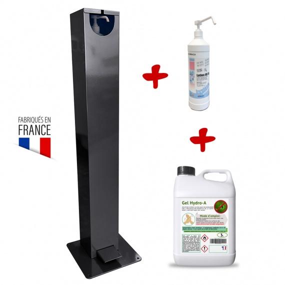 Distributeur de gel hydroalcoolique extérieur à pied + recharge gel BIKOM Signalétique gestes barrières