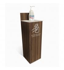 gestes_barrieres_Support Gel Hydroalcoolique imitation bois