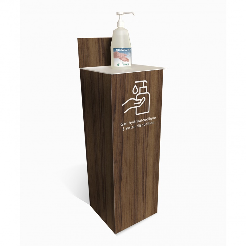 Support Gel Hydroalcoolique imitation bois BIKOM Signalétique gestes barrières