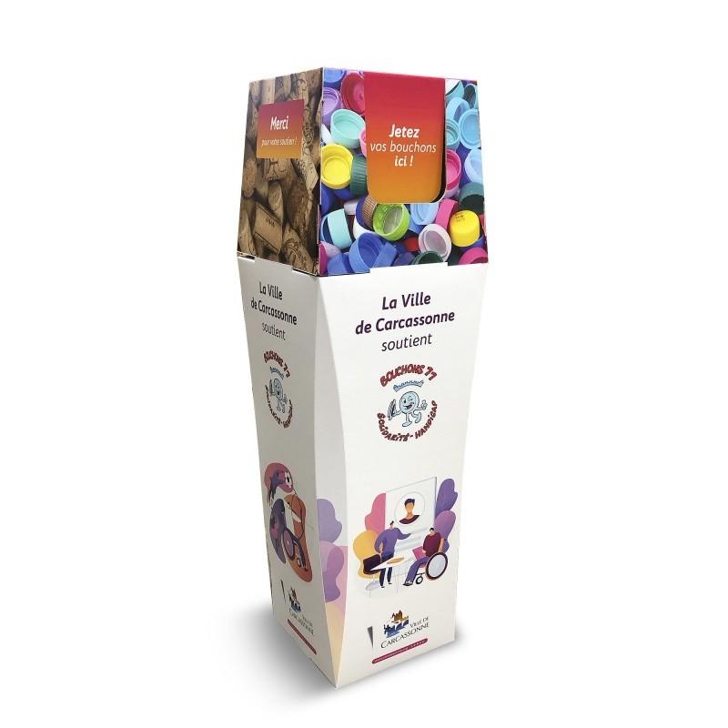Poubelle collecte bouchon plastique BIKOM Poubelle et corbeille en carton