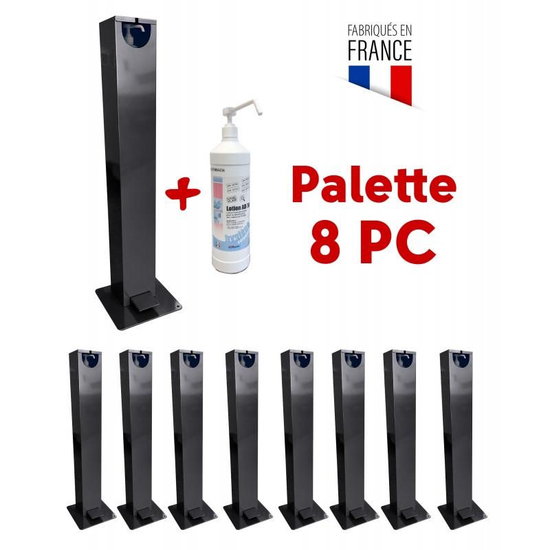 gestes_barrieres_Distributeur de gel hydroalcoolique d'extérieur - Distributeur en métal à pied