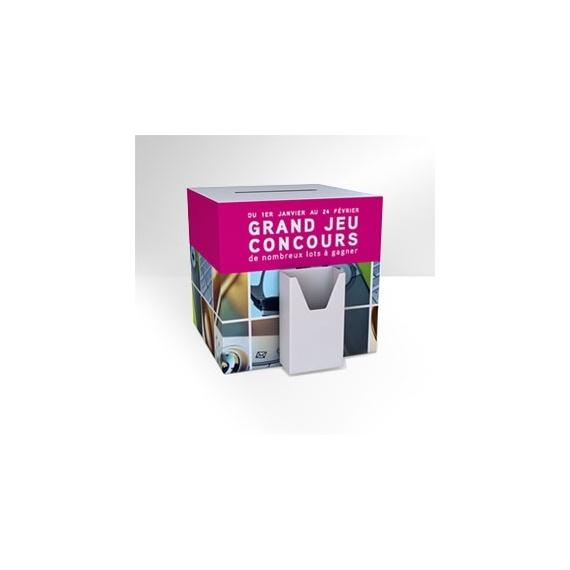 Urne carton avec porte brochure BIKOM Urnes en carton personnalisables et sur mesure