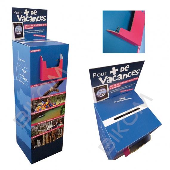 Urne carton haute imprimée avec fronton et porte brochure