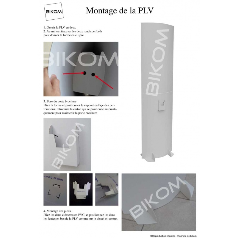 Totem carton 180 x 65 cm BIKOM Totem carton elliptique