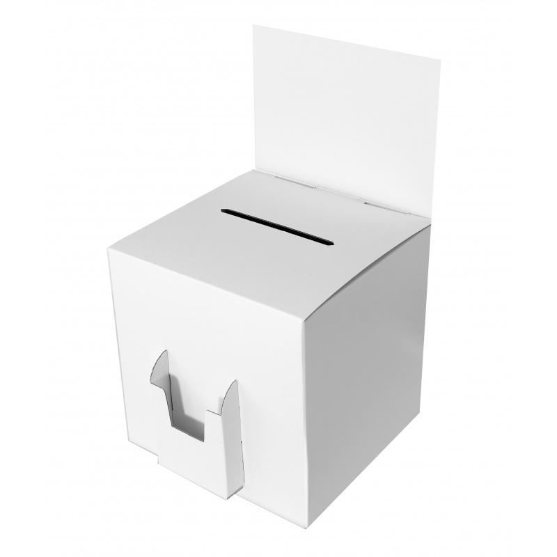BIKOM Urne en carton blanche avec porte flyer 28 x 28 cm