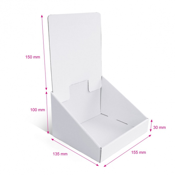Présentoir en carton blanc sans impression, 155 x 135 mm x 250 mm BIKOM Présentoirs en carton blanc personnalisables