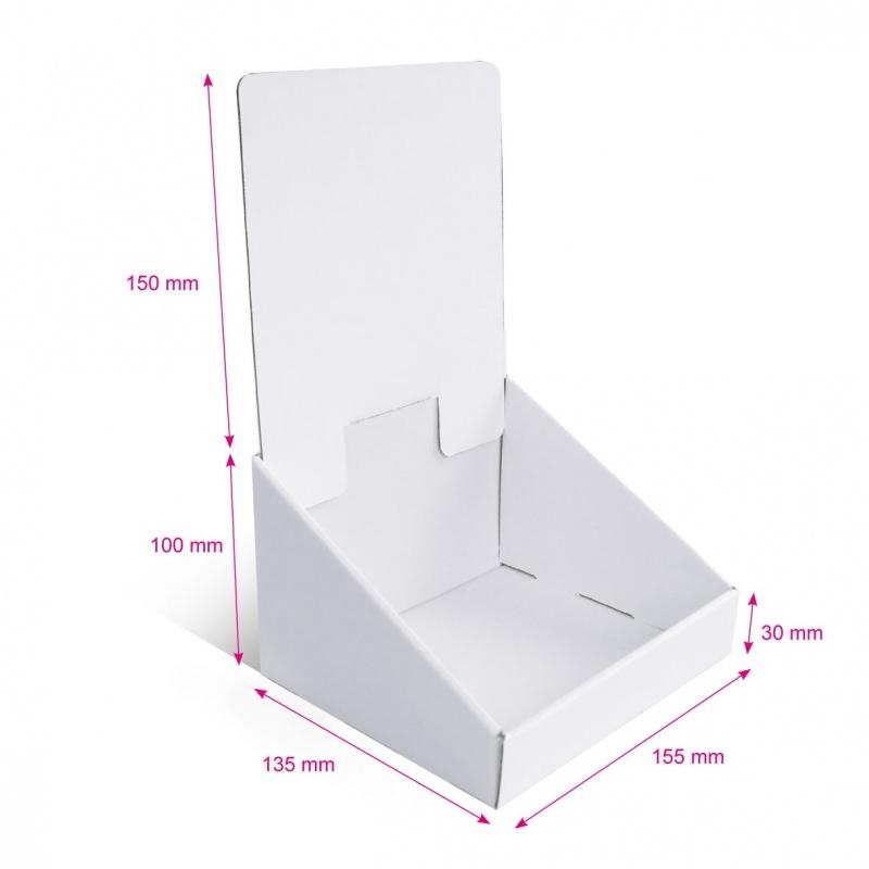 fabricant_plv_Présentoir en carton blanc sans impression, 155 x 135 mm x 250 mm