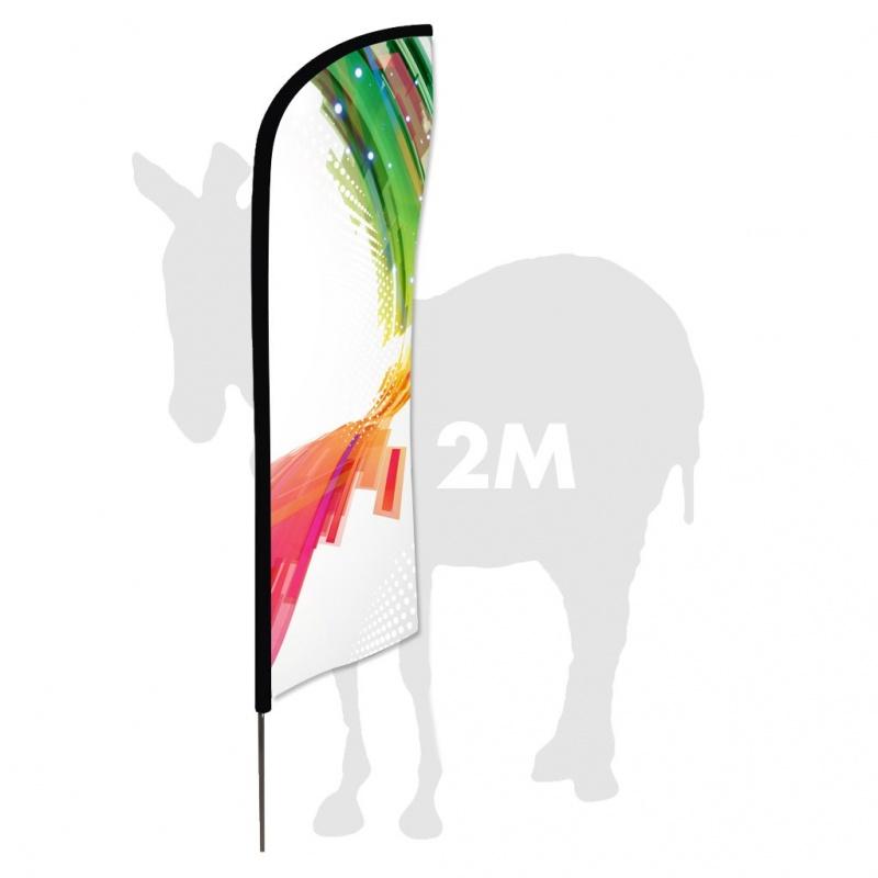 Drapeau 2 m - 2,40 avec mat BIKOM Drapeau, flag, flamme, beachflag