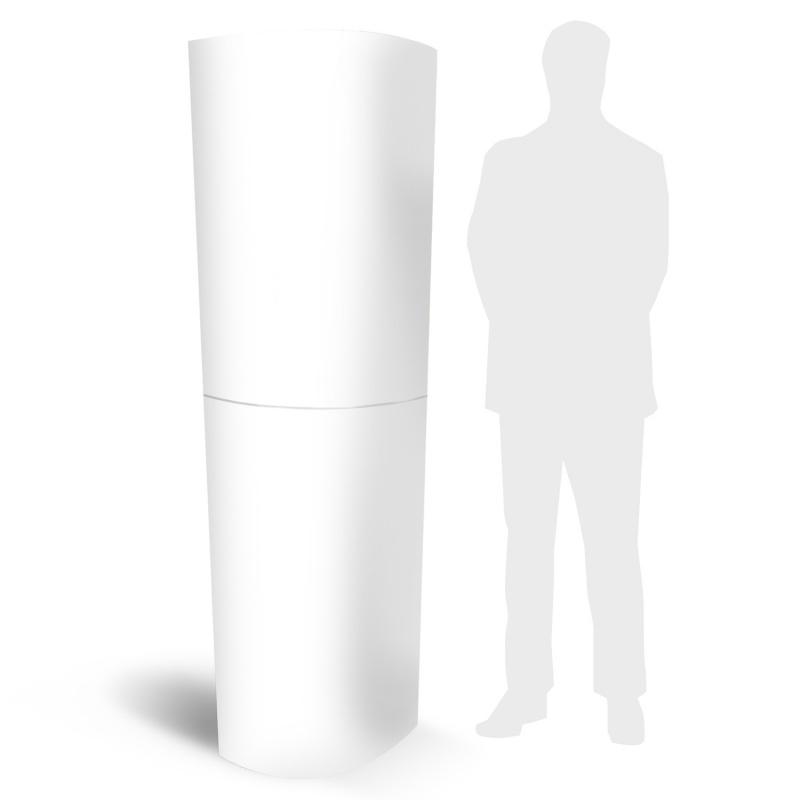 Totem carton blanc sans impression pliable BIKOM Totem carton elliptique