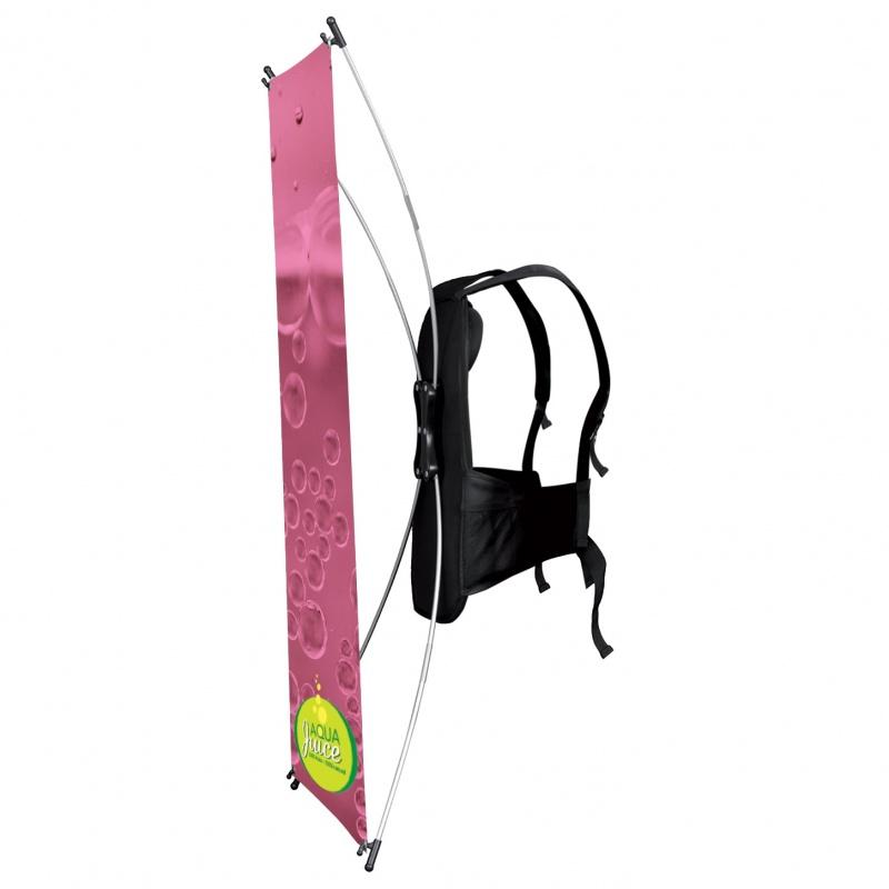 Drapeau sac à dos forme X BIKOM Drapeau publicitaire extérieur