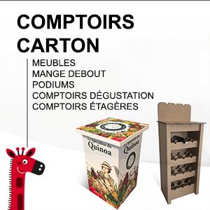 Comptoirs carton : meubles en carton, mange debout, podiums, comptoirs dégustation, étagères